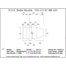 NOE Bullet Moulds 9mm .358 358-155-TC-AS5 5 cavity BB (ELCO) [358-155-TC-AS5-85]