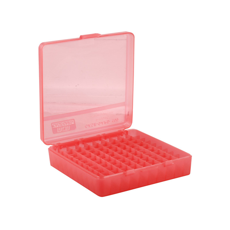 MTM Flip-Top Ammo Box 40 S&W, 10mm Auto, 45 ACP 100-Round Plastic Clear Red P-100-45-29